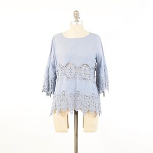 11.1 Tylho Blue Lace Boxy Shift Blouse